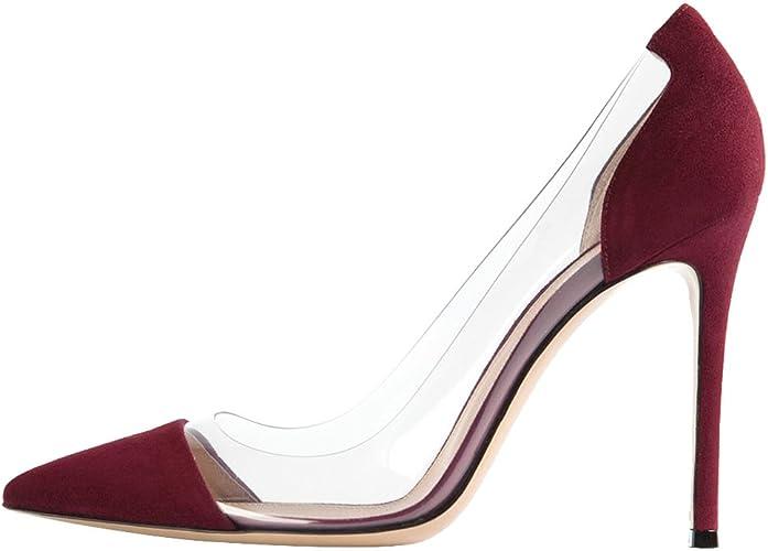DYF Chaussures Femmes Nue, de Pointes Fines Transparent Haut Talon 10 cm,Bureau,Vin Rouge,34