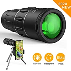 【16x52 HIGH POWER MAGNIFICATION】:16x52 high powered monocular for adults - a full 16x magnification monocular, provides a clearly and bright image. This monocular telescope has large field of view, just feel free to enjoy the beauty of the distance,b...