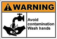 Hypothesis 30x20cm 警告ポスター ブリキ 看板 Avoid Contamination Wash Hands Warning OSHA/ANSI がいる壁の装飾用のティンサイン