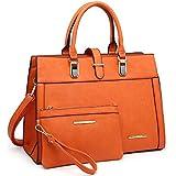 Women's Handbag Flap-over Belt Shoulder Bag Top Handle Tote Satchel Purse Work Bag w/Matching Wristlet (Orange)