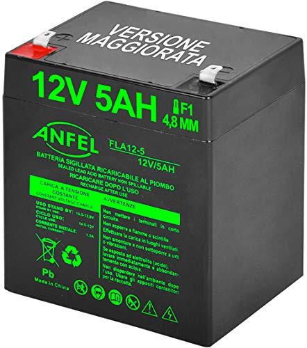 ANFEL Batteria Ermetica al Piombo 5Ah, per ups, Video Sorveglianza e Sistemi di Allarme, 12 V, Attacco Faston 4.8 mm, Dimensioni 9 x 10 x 7