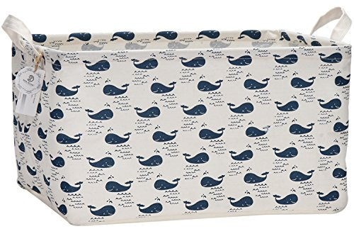 Sea Team 16.5' x 11.8' x 9.8' Square Natural Linen & Cotton Fabric Storage Bins Shelves Storage Baskets Organizers for Nursery & Kid's Room (Whale)