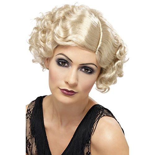 Amakando Perruque Charleston Cancan Années Folles Blond Faux Cheveux Danseuse Années 20 Costume Accessoire Carnaval