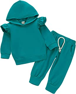 Pudcoco Baby Girl Clothes Set Long Sleeve Ruffle Hoodie Sweatshirt and Pants Outfit Solid Color