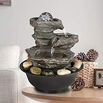 """Peterivan 4-Tier Cascading Resin-Rock Falls Tabletop Water Fountain - 11 2/5"""" Small Relaxation Waterfall Feature with LED Lights&Ball Indoor Oudoor Decorative Tabletop Fountain for Stress Relief"""