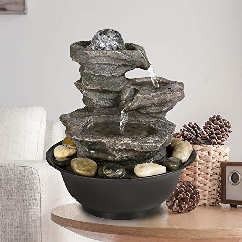 WATURE 4-Tier Cascading Resin-Rock Falls Tabletop Wasserbrunnen - 29cm kleine Entspannung Wasserfall Feature mit LED-Leuchten &Ball, Indoor Outdoor dekorative Tischplatte Brunnen