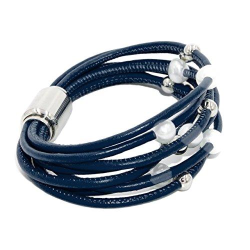 Damen Armband Süßwasser Zuchtperlen von 7 bis 8 mm und Edelstahlkugeln in hochwertigem Leder und Edelstahl Magnetverschluss montiert Secret & You