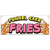 SignMission Funnel Cake Fries 48' Banner Concession Stand Food Truck Single Sided, Size: 18' X 48'