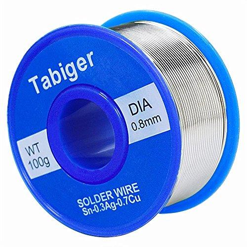 Tabiger Lötzinn, Bleifreies Lot Lötdraht mit Kolophonium Kern (Rosin Core Solder) 97Sn-2Rosin-0.7Cu-0.3Ag, 0.8mm, 100g