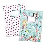 2 carpetas escolares de alta calidad para niños DIN A4   motivo sirena - carpeta de correo para alumnos de primaria - coleccionista de cuadernos - grapadora de silla - juego número 1