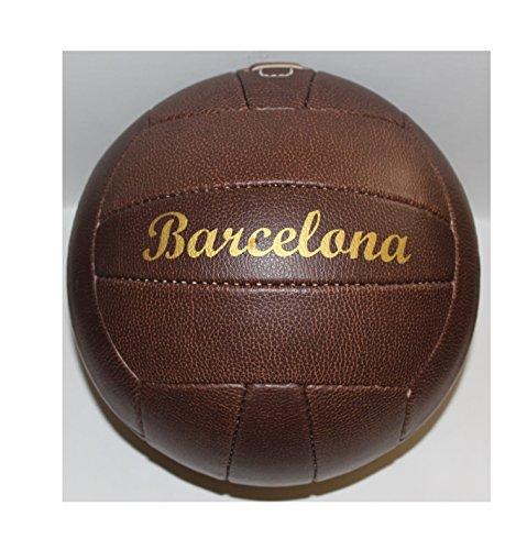 Bavaria Home Style Collection Fussball/Ball/braun/Gr. 5 / Nostalgieball/Nostalgie Ball/Retroball im Leder Look mit Ziernieten und goldenem Print Schriftzug Barcelona