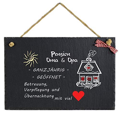 Feiner-Tropfen Schiefertafel 30x20 cm groß Pension Oma und Opa II Bedruckt