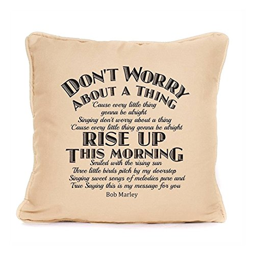 Bob Marley Every Little Thing ' Three Little Birds Song Lyrics Cushion With Pad Included | Best Throw Pillow| Best Gift Present Ideas For Christmas, Birthdays or any other occasion |18 x 18 Inch|