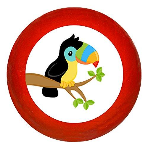 """Kindermöbelknopf""""Tukan"""" rot Holz Buche Kinder Kinderzimmer 1 Stück wilde Tiere Zootiere Dschungeltiere Traum Kind"""