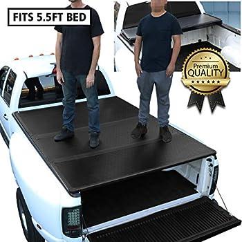 DNA MOTORING TTC-HARD-056 Truck Bed Top Hard Solid Tri-Fold Tonneau Cover,Black