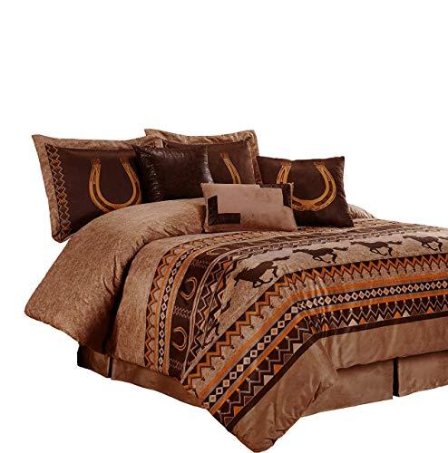 Chezmoi Collection Sedona By 7-piece Southwestern Wild Horses Microsuede Bedding Comforter Set (Queen)