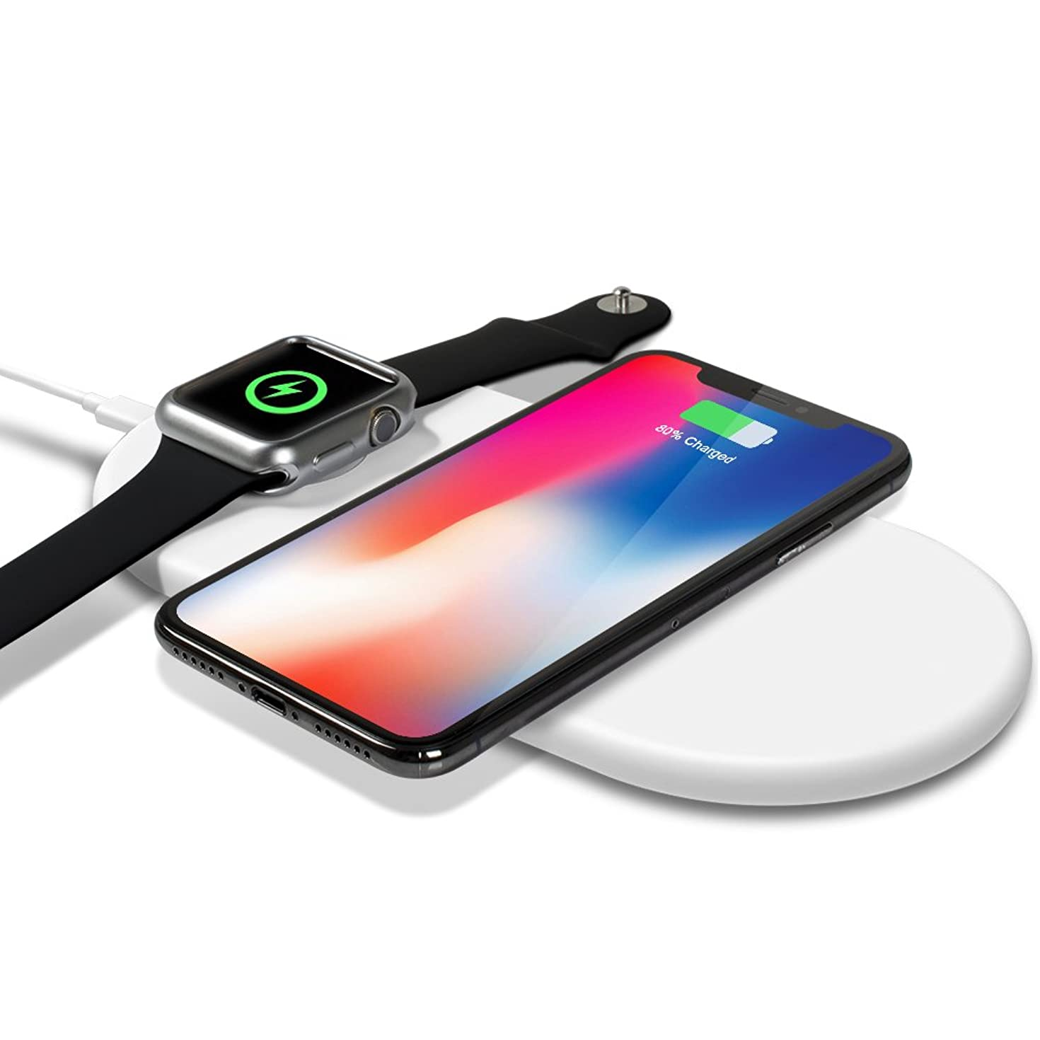 Smartwatch Wireless Charger,top4cus Charging Pad,Ultra Slim 2 in 1 Qi Fast Wireless Charging Stand Compatible iPhone XS/XR/X/8/8plus Apple Watch Series 4/3/2/1, Airpods, Samsung Galaxy - White
