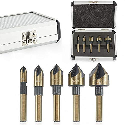 Herramientas de Cjianhua 5 PC/sistema industrial Avellanadora Broca Conjunto Tri-Flat Cambio caña rápida 1/4'-3/4' Kit de herramientas con la caja Todo nuevo nunca usado