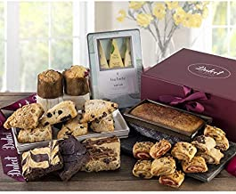 Deluxe Tea and Food Gift Basket Gourmet Present Featuring Old Fashioned Scones, Cheese Brownie, Fudge and Brownie, Muffins, and more plenty to please a crowd. Top Gift Idea! By Dulcet Gift Baskets