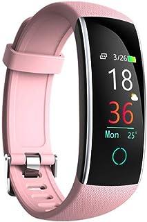 AIFB Pulsómetro Smartwatch, Impermeable calorias podómetro Pantalla a Color Carga USB Alarma Notificaciones Inteligentes Bluetooth para Android iOS Phone,Pink-OneSize