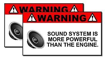 x2 Funny Sound System Warning Sticker Set Vinyl Decal Sub woofer JDM Car Woofer