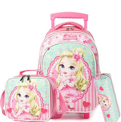 HTgroce Zaino Scuola Trolley Elementare Media Zainetti per Bambini con Pranzo al sacco borsa porta pranzo borsa frigo & Penna Astuccio 3 in 1