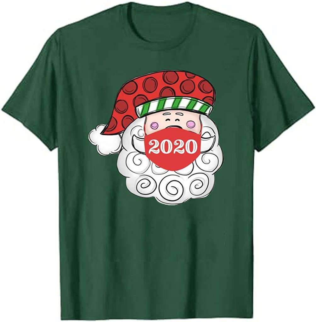2020 Christmas T-Shirt Women Casual Short Sleeve Funny Letter Print Tee Tops