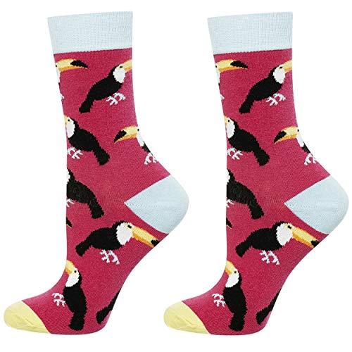 soxo Damen oder Mädchen Socken | 11 Lustige Verschiedene Motive | Lange Söckchen für Frauen | Grössen 35-40 (Tukane)