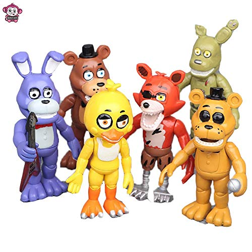 6 Pcs five nights at freddy's cake toppers Toys set for the five nights at freddy's party supplies