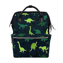 2. SLHFPX Green Animal Dinosaur Diaper Bag
