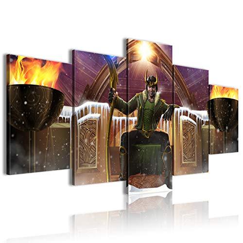 Cuadro de lienzo con diseño de hombre de hierro Hulk Superman de Capitán América 5 piezas decoración de sala de estar 200 x 100 cm enmarcado