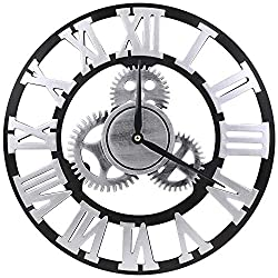 MEISTAR Wooden Exposed Gear Wall Clocks for Home and Office Wall Art Decoration,Big Rustic Silver Numerals 14 inch 3D Hollow Battery Quartz Gear Clock
