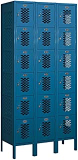 Salsbury Industries 76365BL-U Six Tier Box Style 36-Inch Wide 6-Feet High 15-Inch Deep Unassembled Vented Metal Locker, Blue
