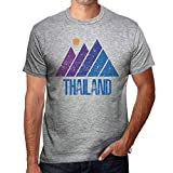 One in the City Hombre Camiseta Vintage T-Shirt Gráfico Mountain Thailand Gris Moteado
