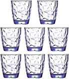 10 Oz 8-Piece Premium Unbreakable Drinking Glasses Plastic Tumblers Dishwasher Safe BPA Free Small Acrylic Juice Glasses for Kids Plastic Water Glasses (Blue)