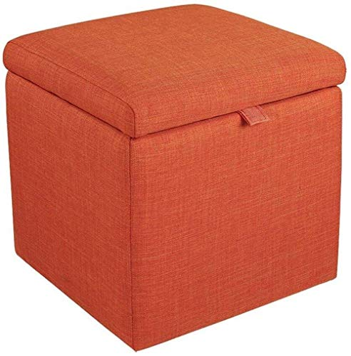 NYDZDM Stool Storage Stool Box Cube Chair Beanbag Stool with Cover and Linen Cover Hallway Makeup Stool | Living Room | Room Room Max. 150kg 43x43x45cm (Size : Orange)