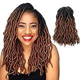 Eliza Wavy Gypsy Locs Ombre Crochet Hair 14' 8Packs/Lot Goddess Locs 100% Kanekalon Fiber Faux Locs African Roots Dreadlocs Synthetic Braiding Hair Extensions for Black Women(14',OT30)
