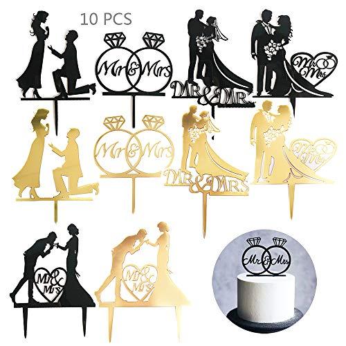 Juland 10 Stück Topper Torten Acryl Kuchen Aufsatz Topper Tortenstecker Cupcake Glitter Deko für Hochzeit Engagement Hochzeitsfeier Geburtstagsfeier - Gold und Schwarz