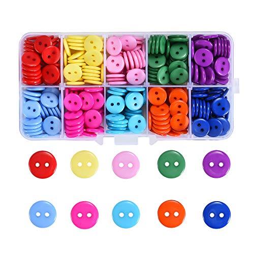 ShipeeKin 350stk Farbige Knöpfe Bunte Knöpfe (Dia.11mm,10 Farben) Resinknöpfe für Basteln, Nähen und Handarbeit, DIY-Verarbeitung