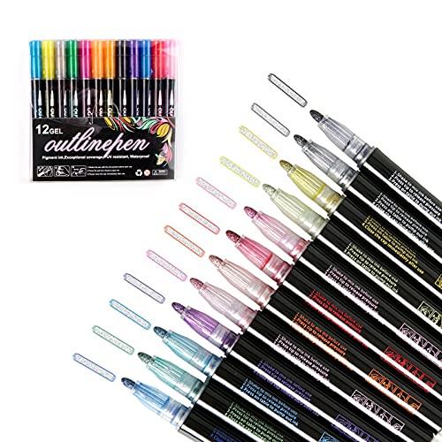 Outline Stift 12 Farben Magische Stifte Fluoreszierender Glitter Wasserdichter Stift Glitzerstift für Kinder Double Line Outline Pens für Basteln Steine Papier Grußkarten Sammelalbum