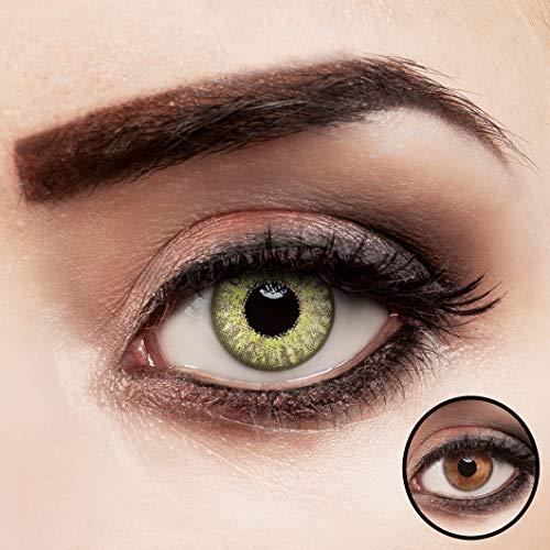 aricona Kontaktlinsen grün ohne Stärke farbige hellgrüne Jahreslinsen 2 Stück