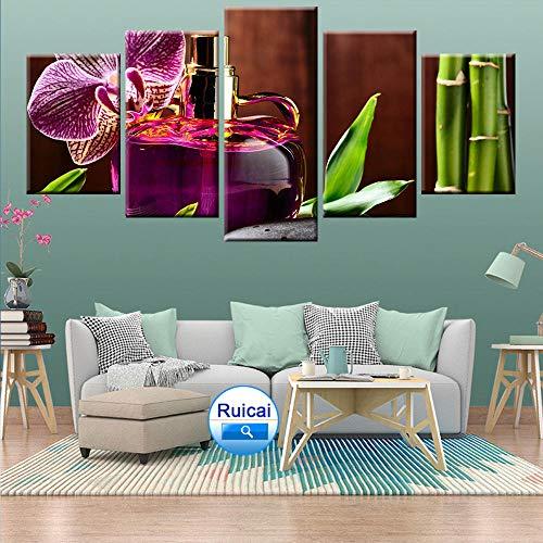 Moda moderna orquídea perfume botella arte lienzo pintura cartel salón decoración pared 5 paneles Kdw