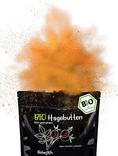 BIO Hagebuttenpulver 1kg |100% natürliche Vitamine und Mineralstoffe - Laborgepüft | Für die normale Immunsystem- und Knochen- & Muskelfunktion | Naturreines Superfood, Extra fein gemahlen, BotaniKils