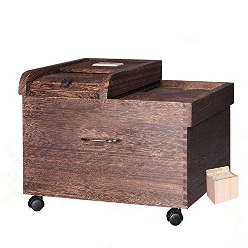 ZWL Boîte de stockage de grain, Boîte de riz en bois solide Boîte de rangement de céréales Pest Control Préservation de l'humidité Préservation de la cuisine Ménage Grain Storage Box 44 * 38 * 33CM Récipient sain de stockage de céréales ( Capacité : 20KG )