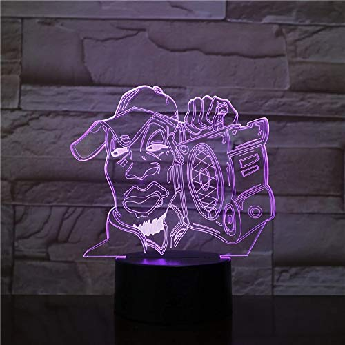 Lámpara de mesa 3D acrílico LED luz nocturna multicolor USB luz decorativa regalo
