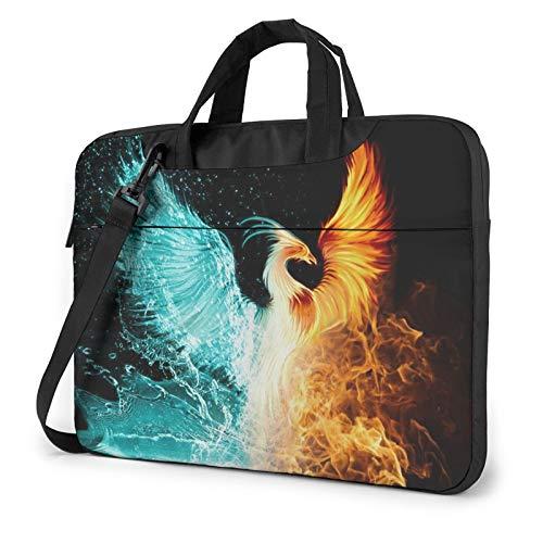 Bolso de hombro para portátil - Blue Wolf impreso a prueba de golpes impermeable portátil bolso mochila, Fire and Water Phoenix, 14 Pulgadas,