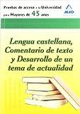 Prueba De Acceso A La Universidad Para Mayores De 45 Años. Lengua Castellana, Comentario De Texto Y ...