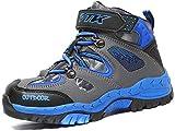 AShion Kids Hiking Shoes Walking Boots Antiskid Steel Buckle Sole Outdoor Climbing Sneaker,1-blue-thin,5 M US Big Kid(Inner Length - 23.5cm)