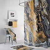 ZonaloDutt Schwarz & Gold Marmor Duschvorhang Gold Vene Farbe Gießen Art-Deco-Stil modernen Marmor Unisex einzigartige Wohnkultur Badezimmer