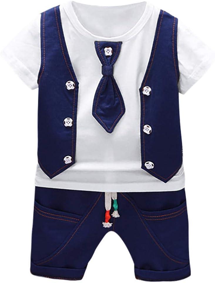 Babykleidung Set Baby Jungen Mädchen Kleidung Outfit Baby Lässig Gentleman Krawatte Gestreiften Hemd Shorts Kleidung Anzug Jogginganzug Jacke Top + Hose Jogginghose Weiche Babyset